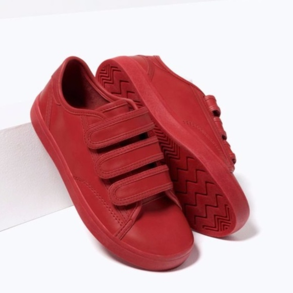 Kids Red Sneakers With Velcro Straps